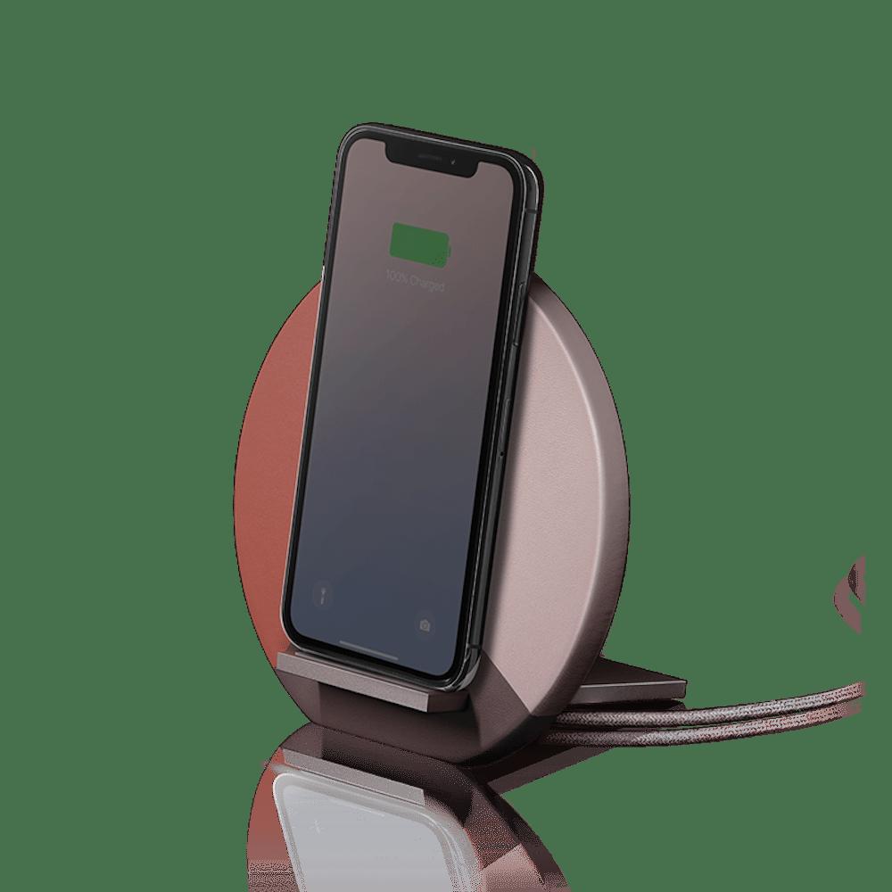 NATIVE UNION|Dock 拼接皮無線充電座 - 柔霧粉