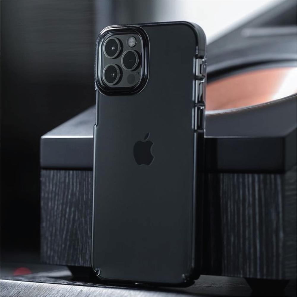 CAUDABE|iPhone 12 Lucid Clear 極透防摔手機殼 - 石墨黑