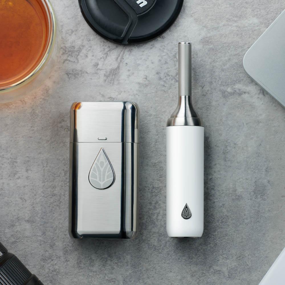 初芳宇|熱銷套組:磁吸沏茶筆+茶則罐(月牙白)