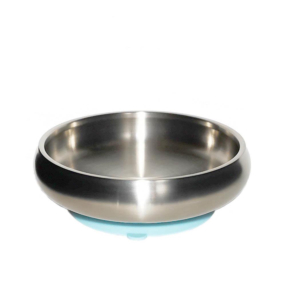 little.b|雙層不鏽鋼寬口麥片吸盤碗(寶貝藍)