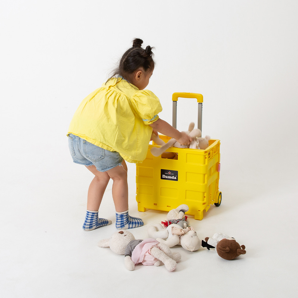 Damda|多用途摺疊購物車(棕+黃)
