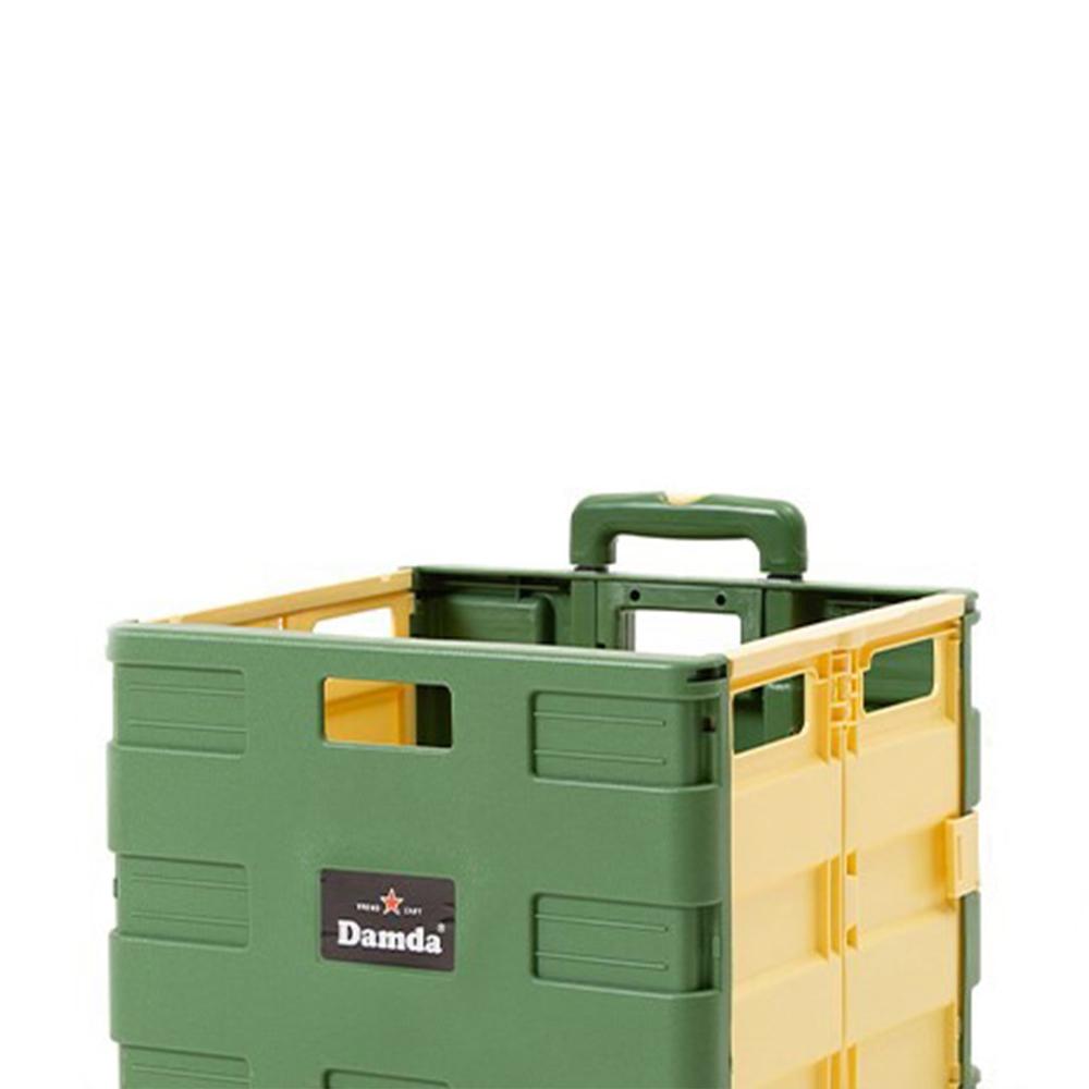 Damda|多用途摺疊購物車(軍綠+黃)