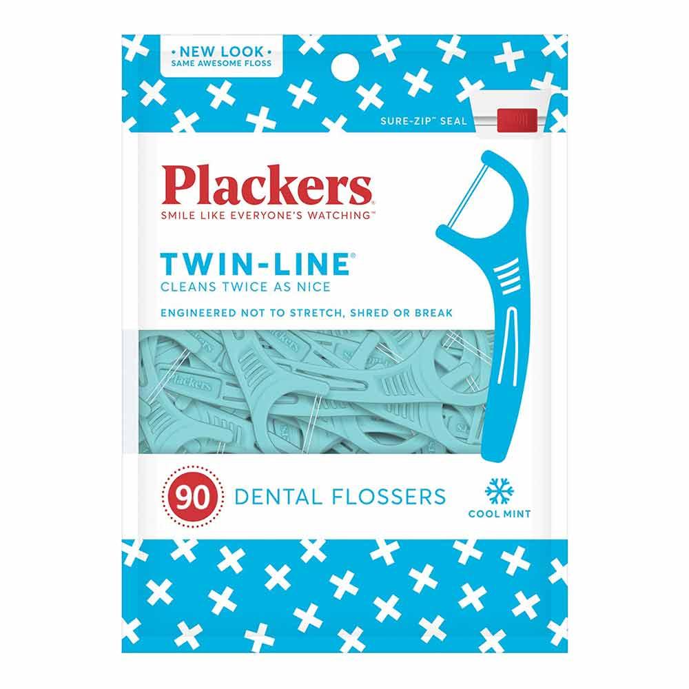 美國 Plackers 派樂絲 雙線倍潔亮白牙線棒(90入)