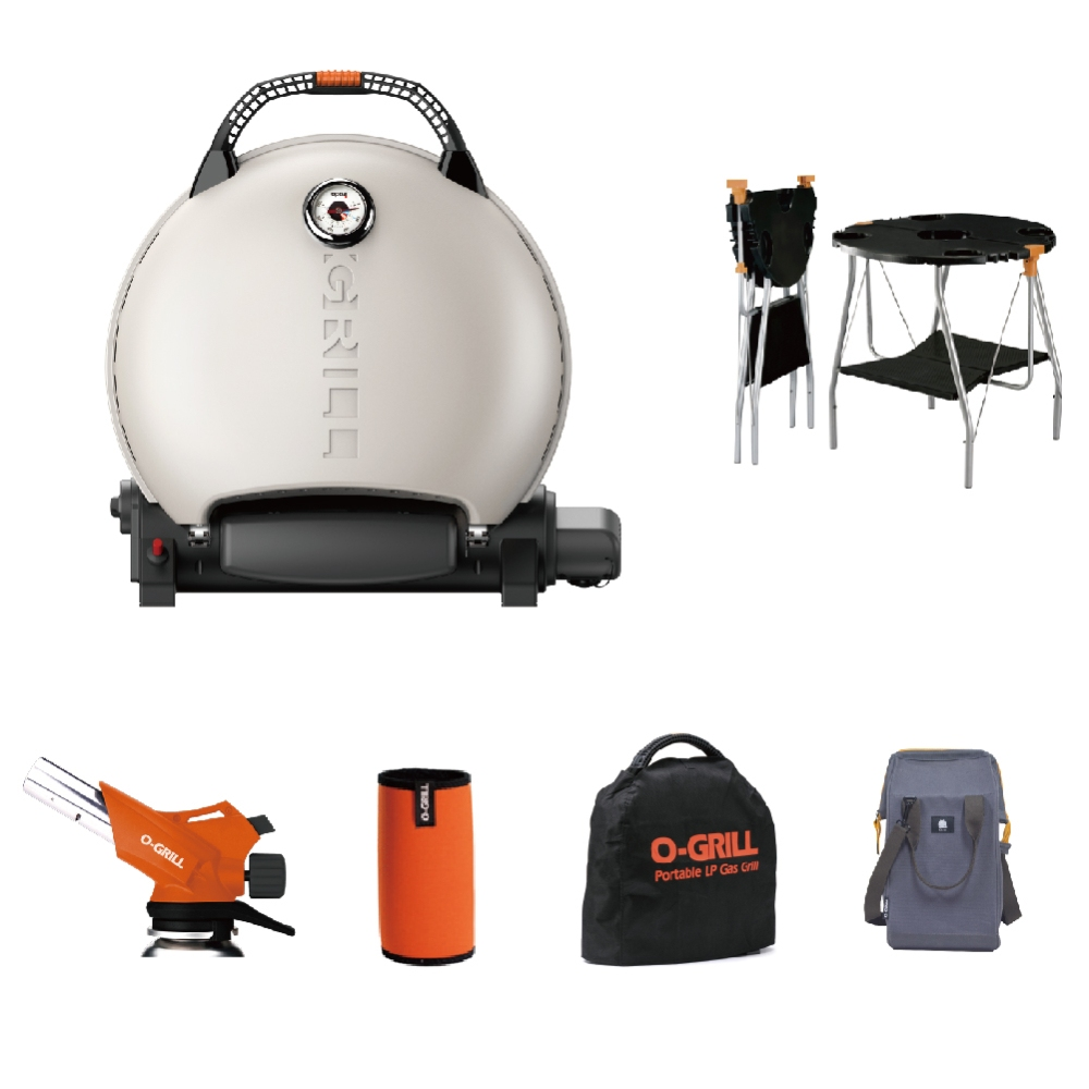 O-Grill|精選6件組 700T型 烤肉爐+O-Dock桌+GT-600噴火槍+卡式罐保護套+防塵套+戶外水桶包