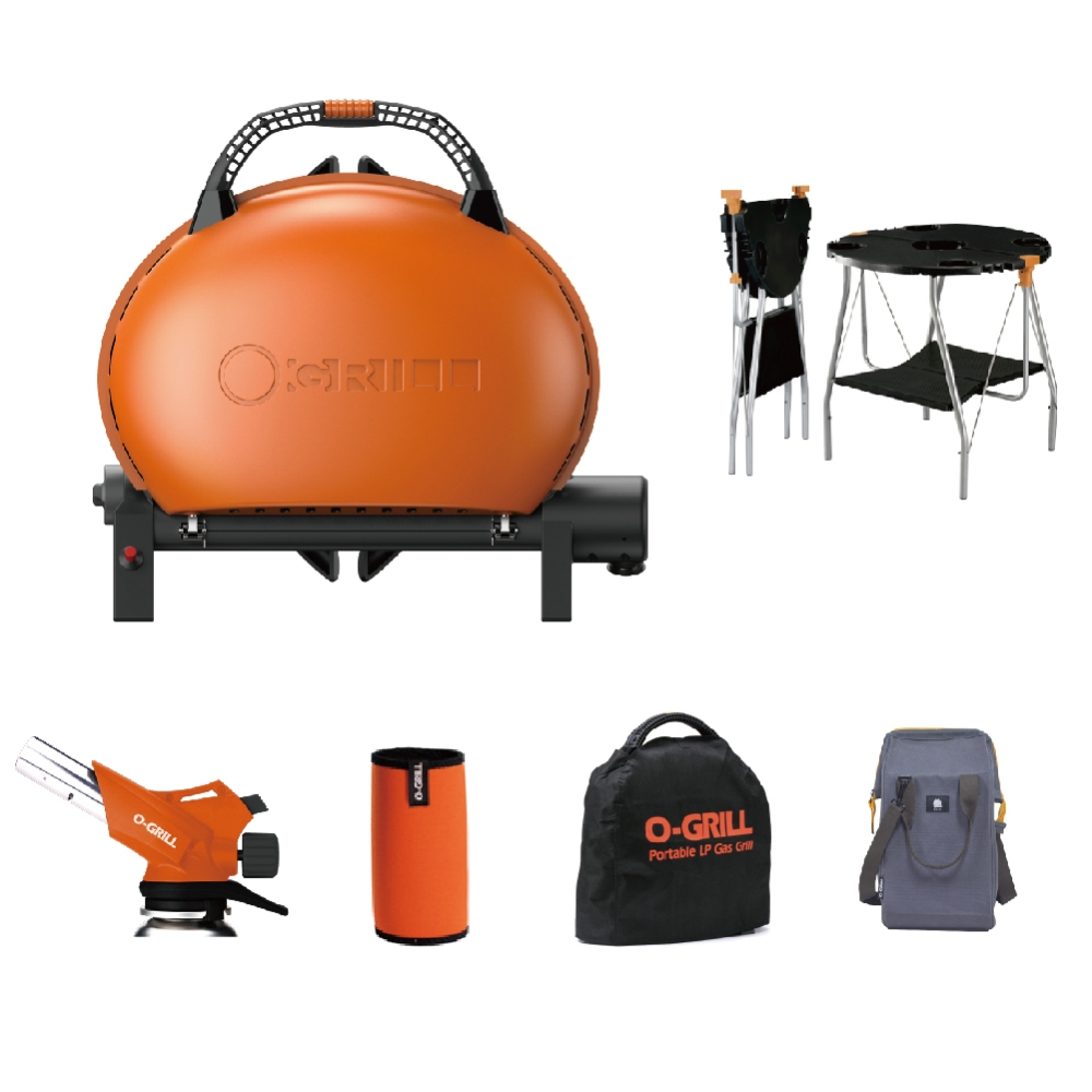 O-Grill 經濟6件組 O-Grill 500M型+O-Dock桌子+GT-600噴火槍+卡式罐保護套+防塵套+戶外水桶包