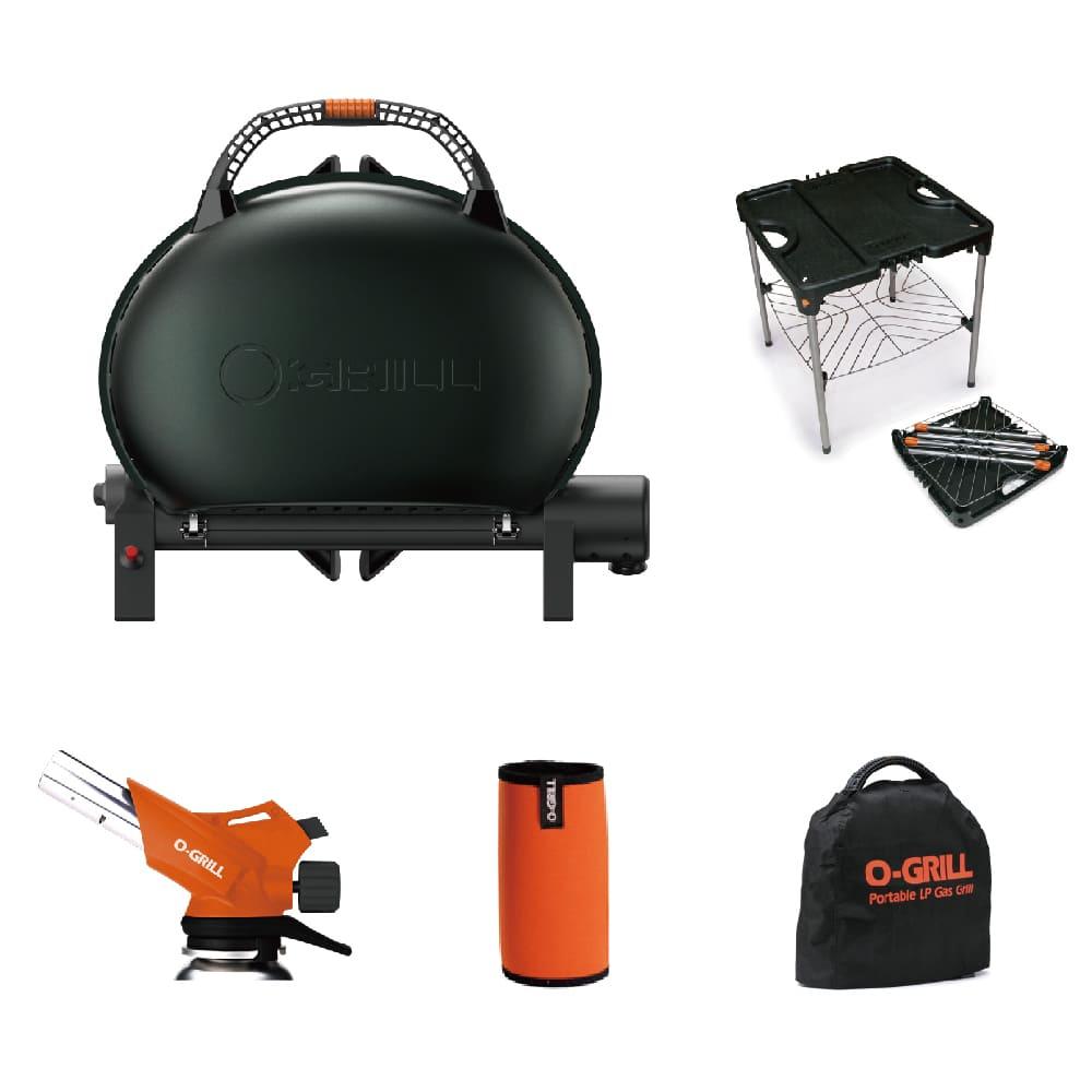 O-Grill|O-Grill 500M美式時尚可攜式瓦斯烤肉-輕巧包套 五件組