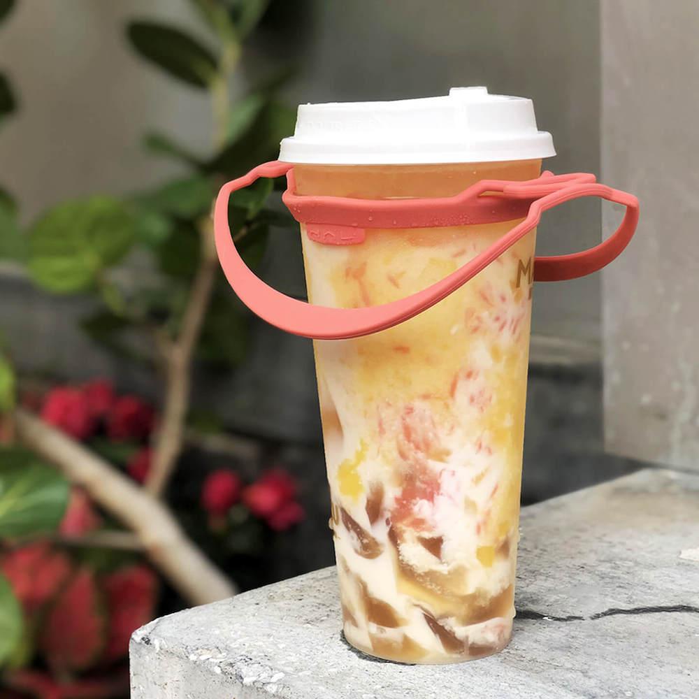 HhL Design 拎杯-矽膠防水飲料提袋2.0(珊瑚粉)