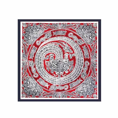 故宮精品 蟠龍紋盤絲巾 (紅)