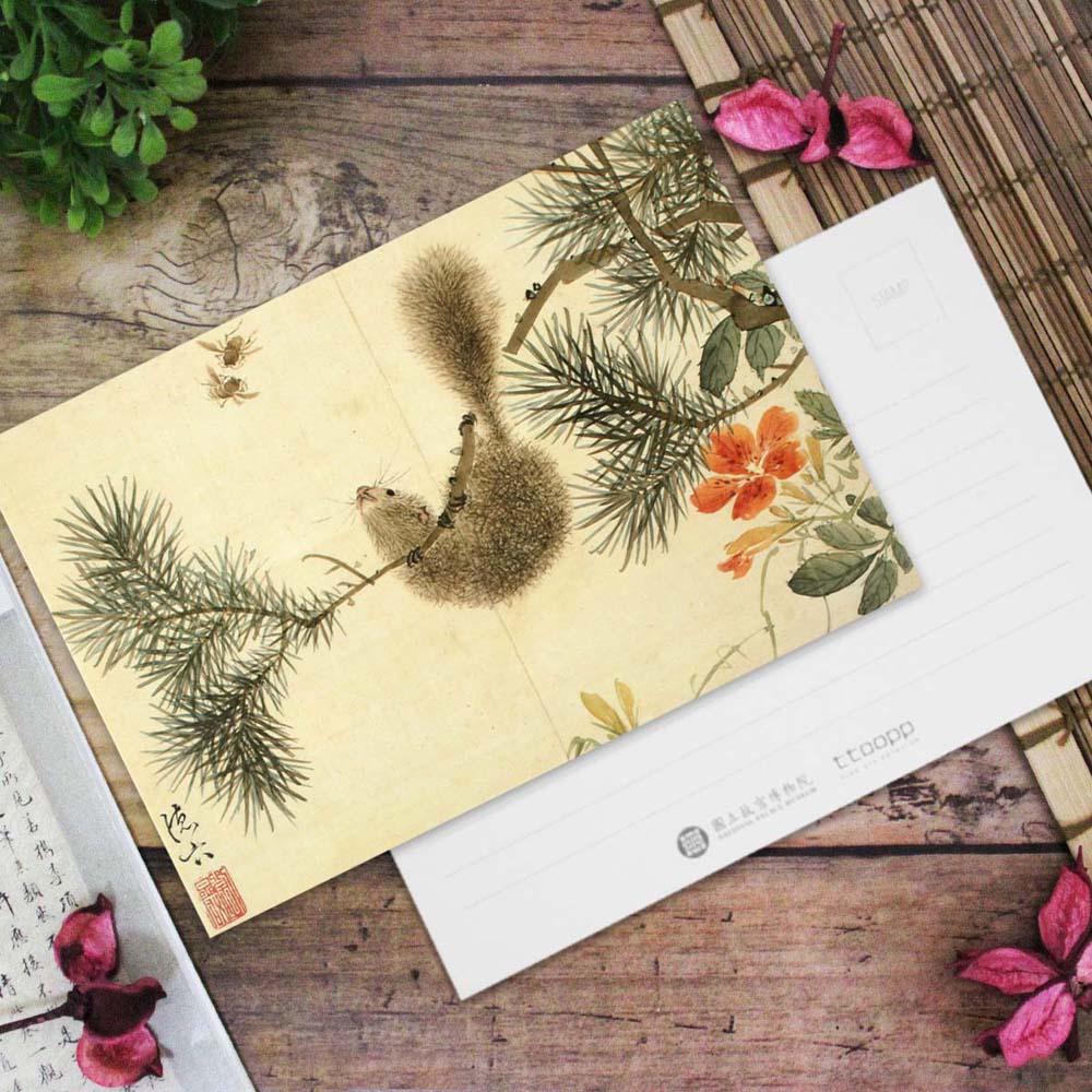 故宮精品 | 花卉十二員松鼠凌霄明信片