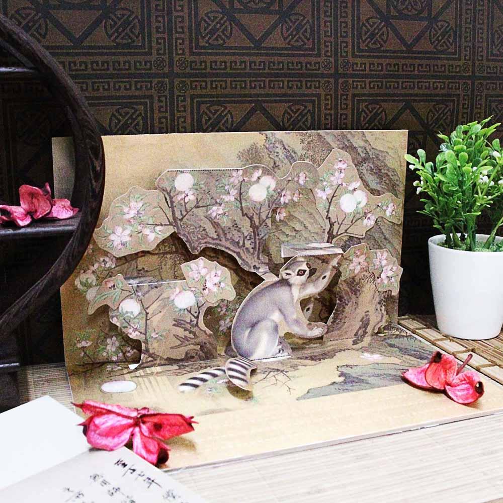 故宮精品 | 古畫裡的動物 DIY立體手作卡片 -清郎世寧 畫交阯果然