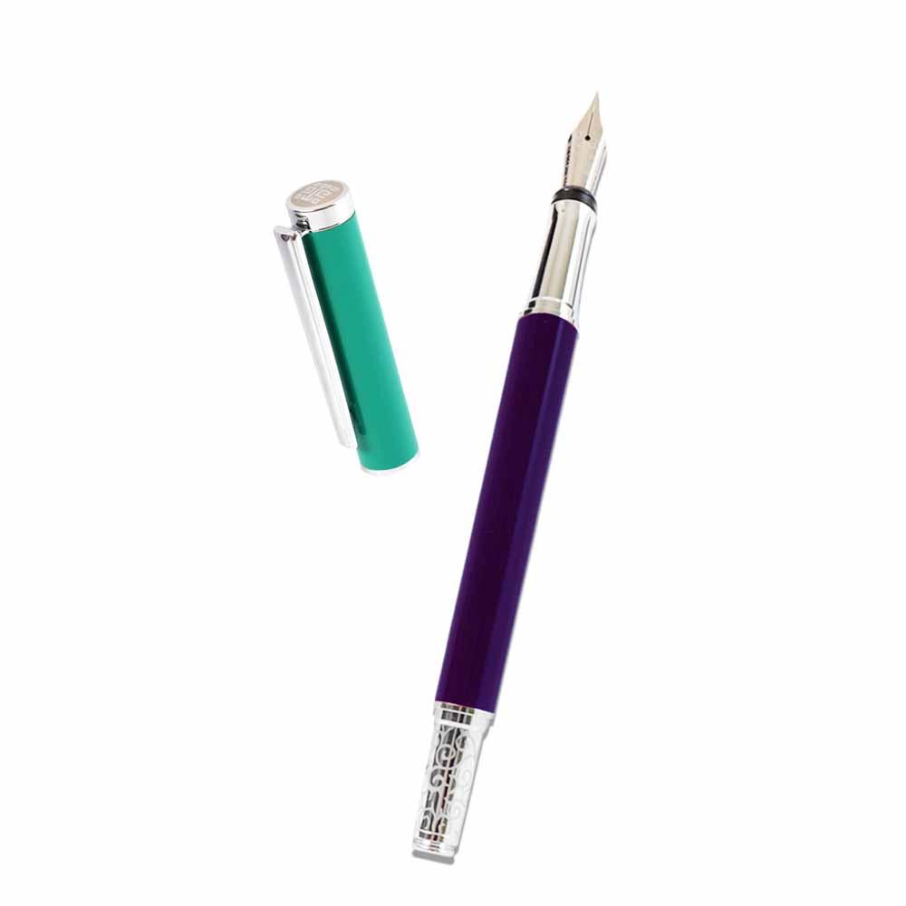 故宮精品   釉色筆墨組 紫地粉彩花鳥盒