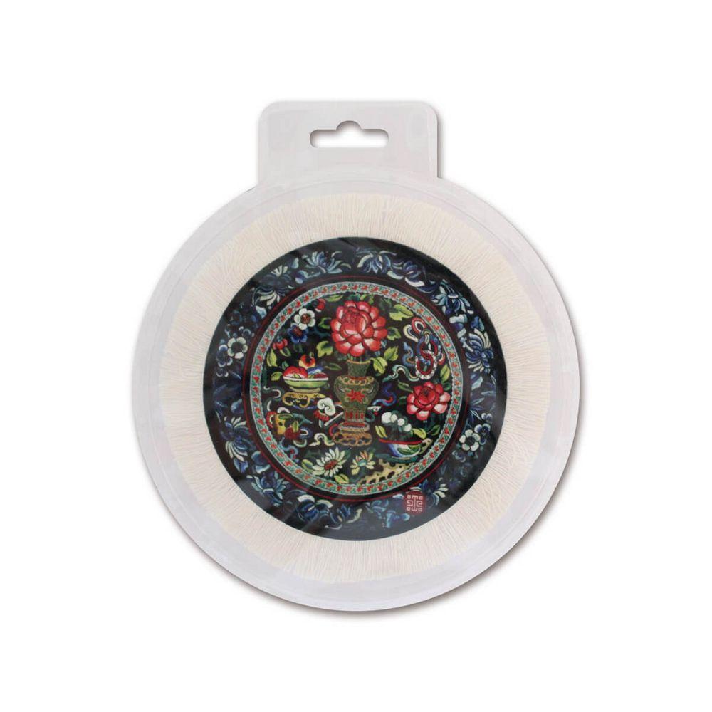 故宮精品 國寶圓墊-瓶花繡片
