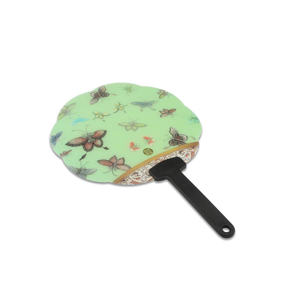 故宮精品|花漾扇-粉綠百蝶