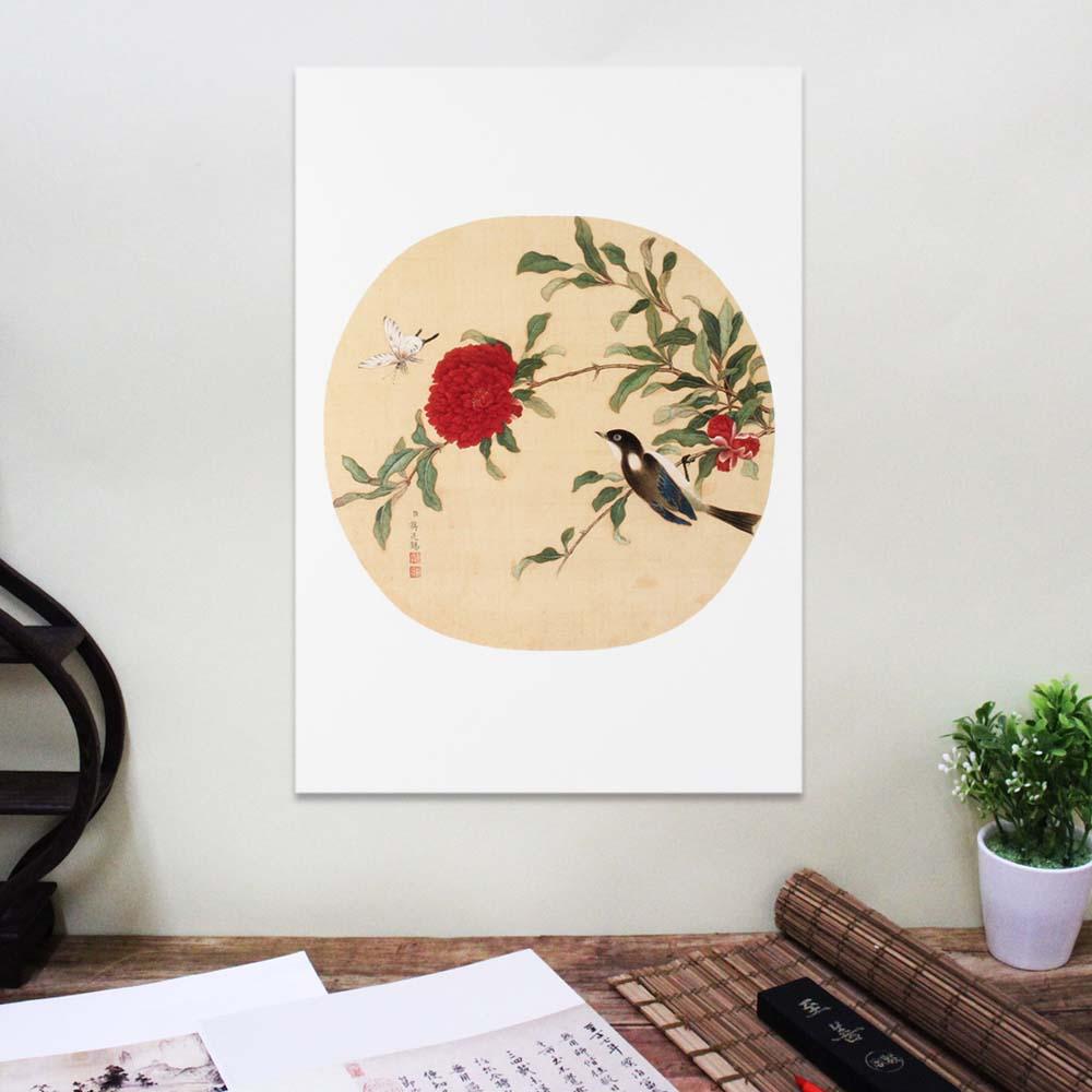 故宮精品   圖卡-蔣延錫花卉(山雀牡丹)