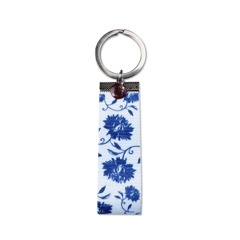 故宮精品 | 青花織帶鑰匙圈-白