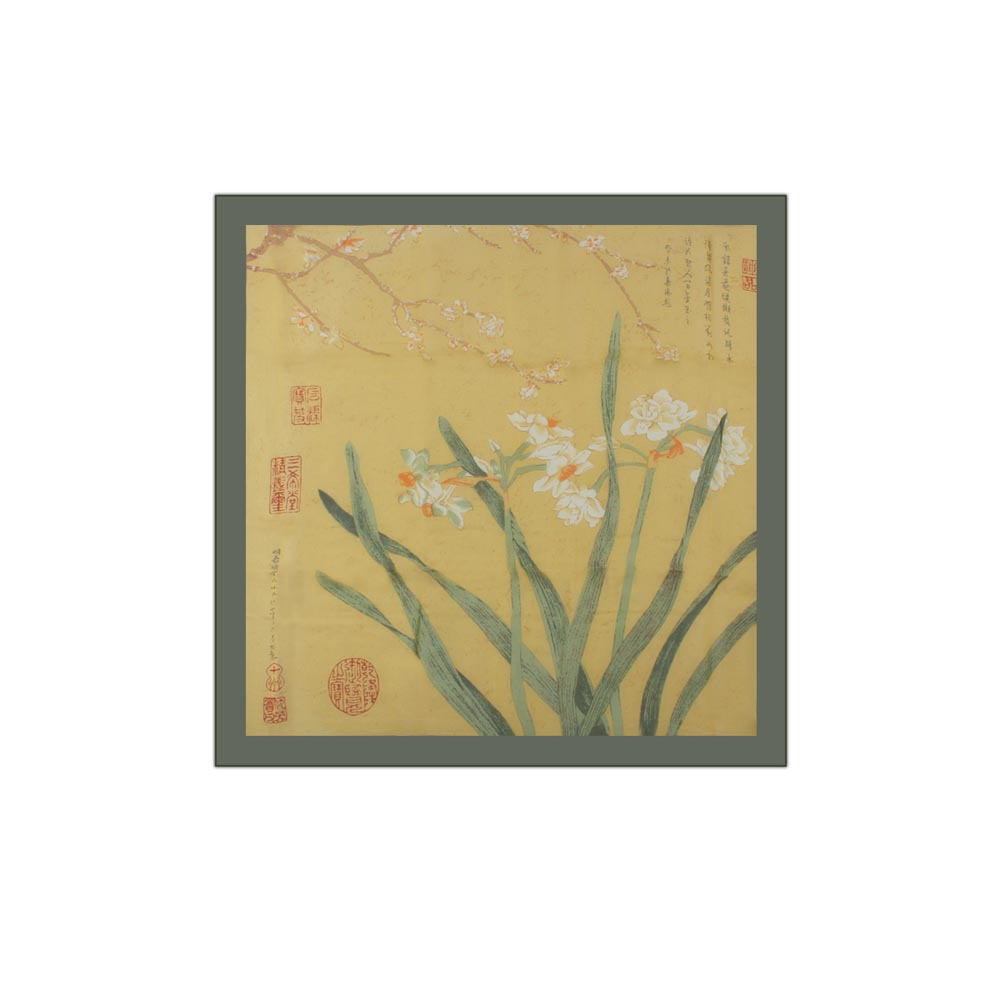 故宮精品   水仙臘梅絲巾