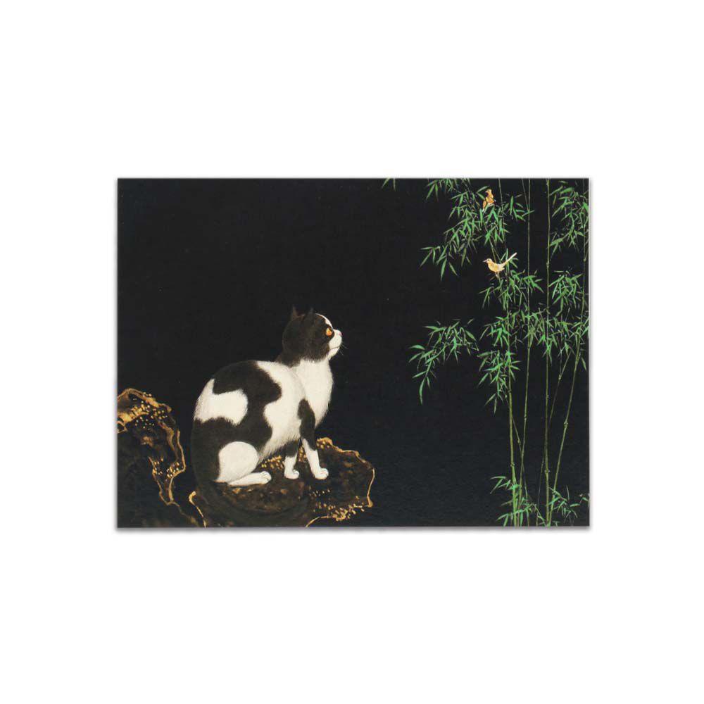 故宮精品   明信片-畫耄耋同春 貍奴黃鸝