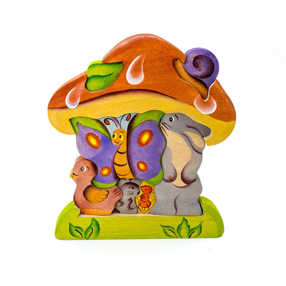 淳木童話 蘑菇下立體木頭拼圖
