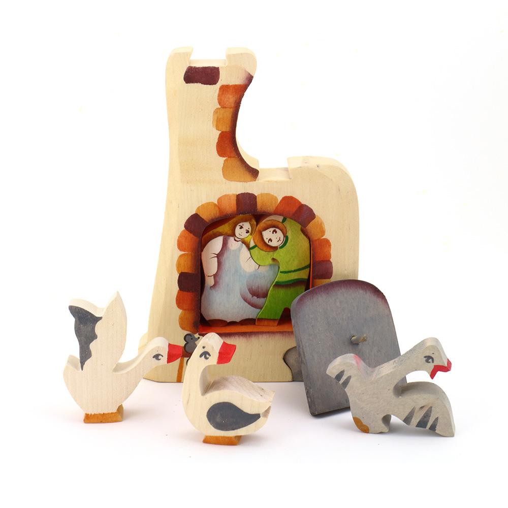 淳木童話|野鵝與大爐立體木頭拼圖