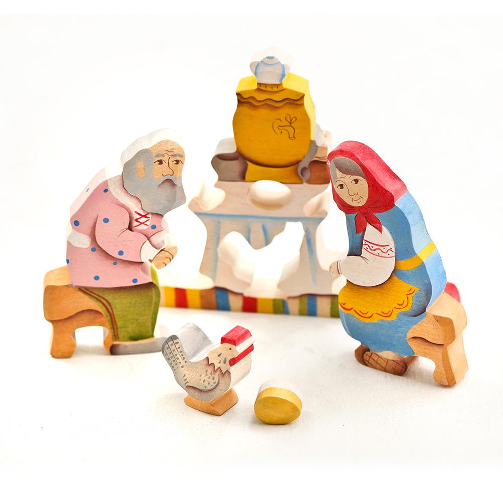 淳木童話 下金蛋的母雞立體木頭拼圖