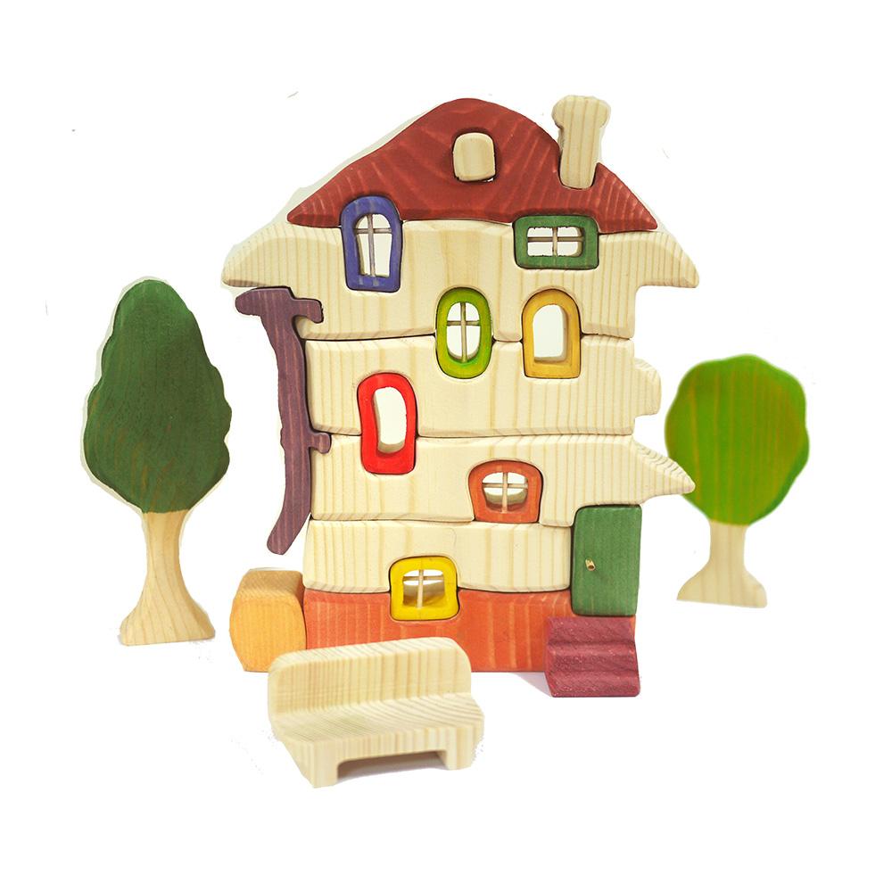 淳木童話|小木屋立體木頭拼圖