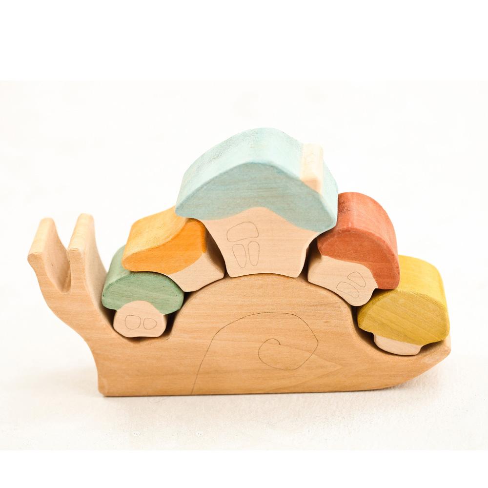 淳木童話|莎夏蝸牛屋立體木頭拼圖