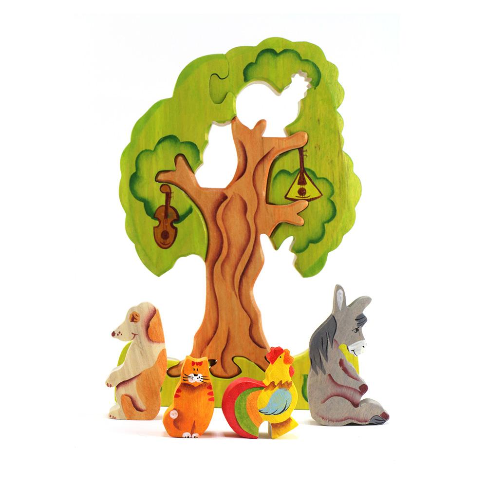 淳木童話 布萊梅音樂家在樹上立體木頭拼圖