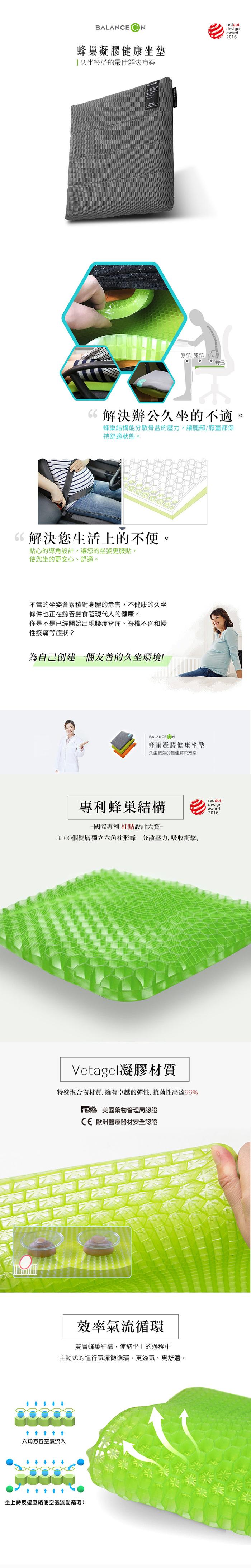 倍力舒 | Balanceon 蜂巢凝膠健康坐墊-綠色(M號)