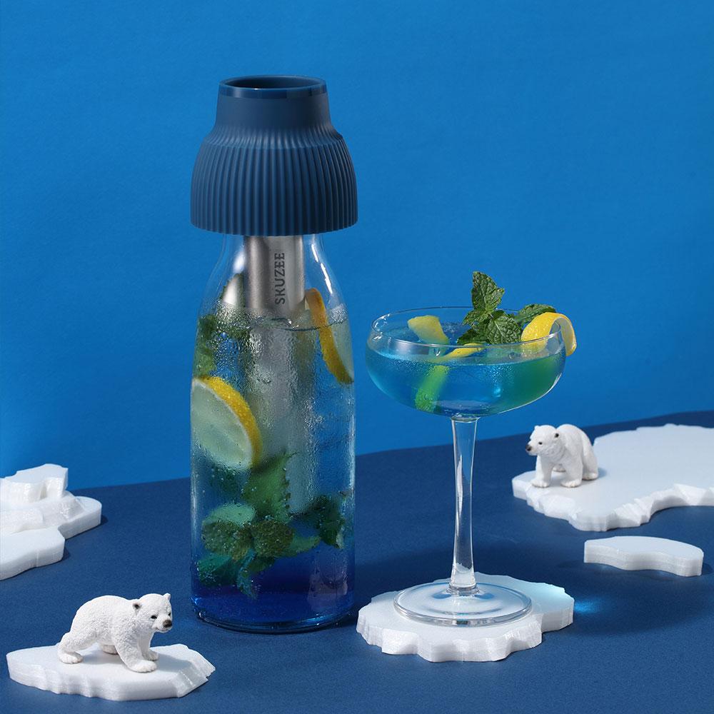 FLYTTA|SKUZEE鮮榨蓋 - 榨汁/泡茶/保冷 多功能飲品調理組(經典藍)(贈1L玻璃瓶)