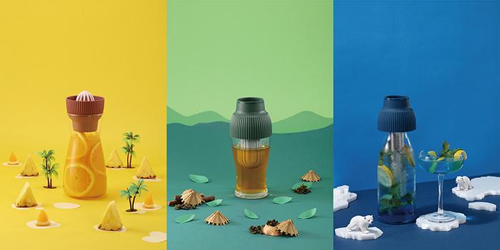 FLYTTA|SKUZEE鮮榨蓋 - 榨汁/泡茶/保冷 多功能飲品調理組(珊瑚紅)(贈1L玻璃瓶)