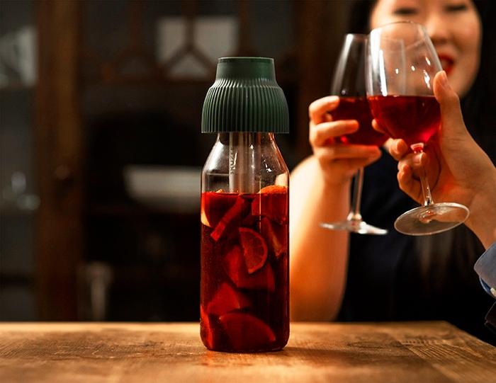 FLYTTA|SKUZEE鮮榨蓋 - 飲品保冷棒組合(經典藍)(贈1L玻璃瓶)