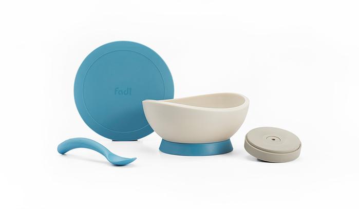 FLYTTA | FADI 轉轉碗 - 吸盤式學習餐碗組合 (海洋蘇打藍)