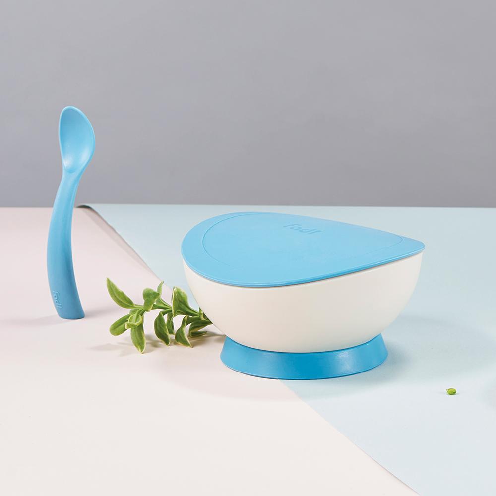 FLYTTA|FADI 轉轉碗 - 幼兒吸盤餐碗組合 (海洋蘇打藍)