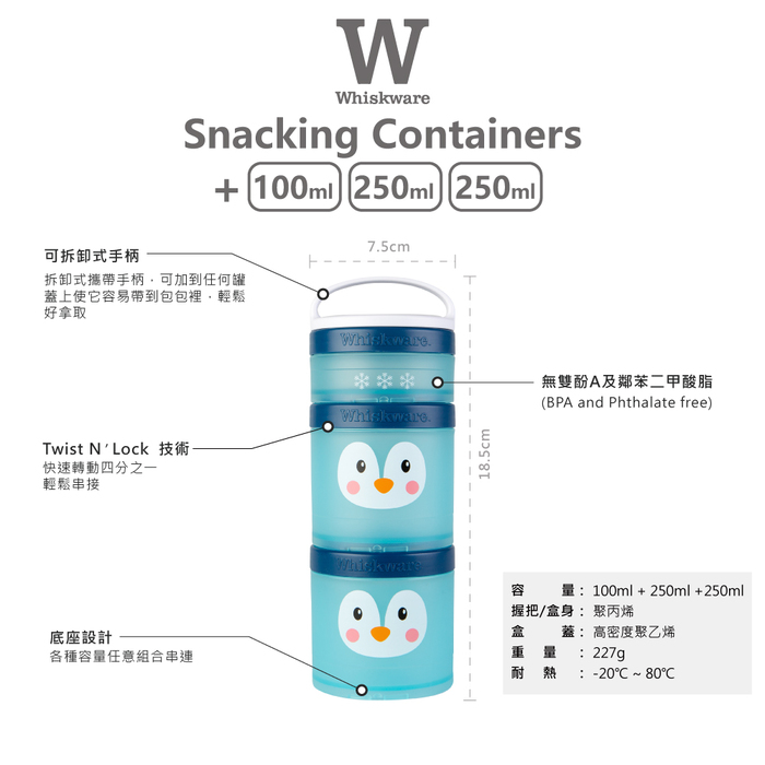 Whiskware™ Snacking Containers 三層零食盒 豬豬