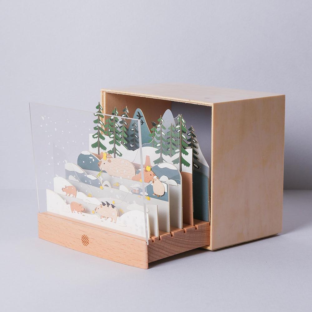 知音文創 水豚泡溫泉 動物故事DIY燈組 紙風景