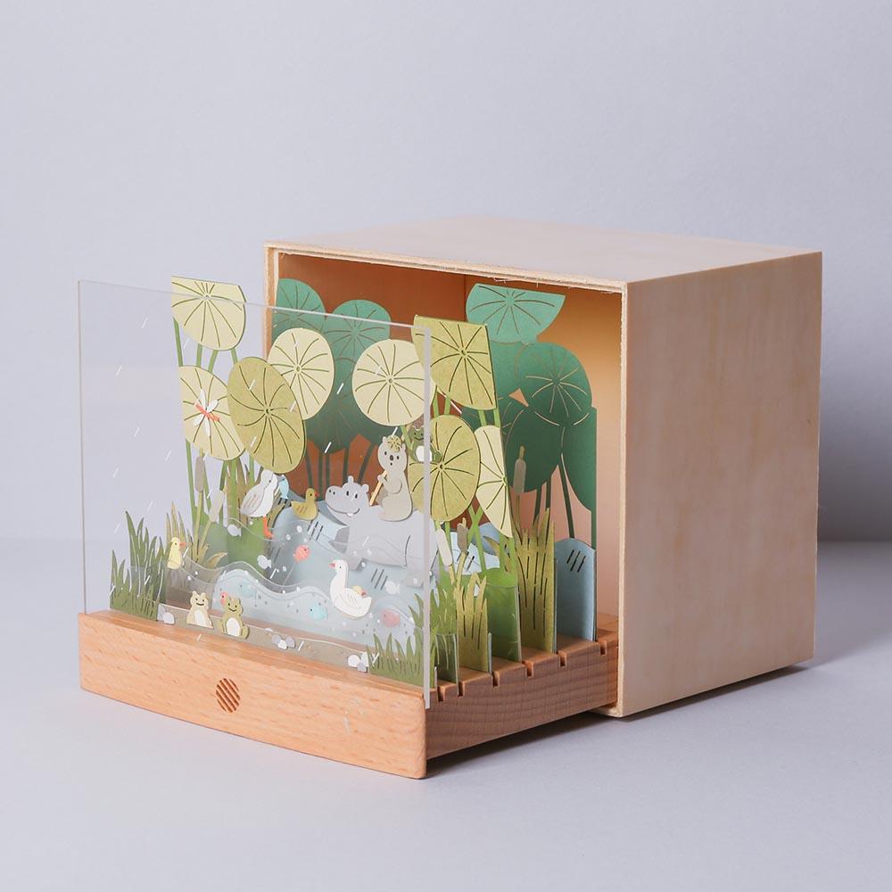 知音文創 河馬池塘 動物故事DIY燈組 紙風景