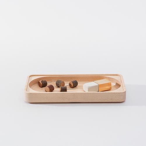 知音文創|實木堆疊文具收納 單格大長盤