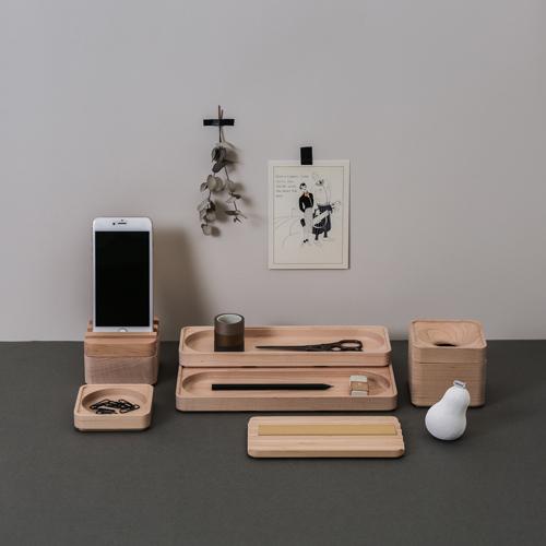 知音文創|實木堆疊文具收納 置物方盒-淺