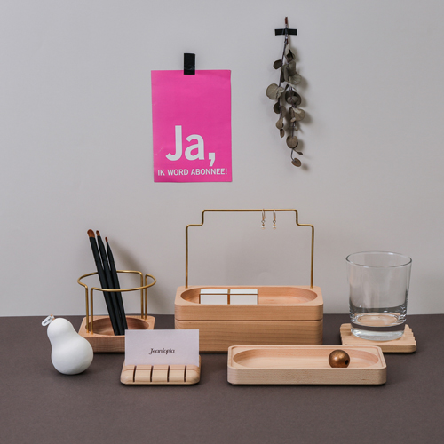 知音文創 實木堆疊文具收納 單格長盤