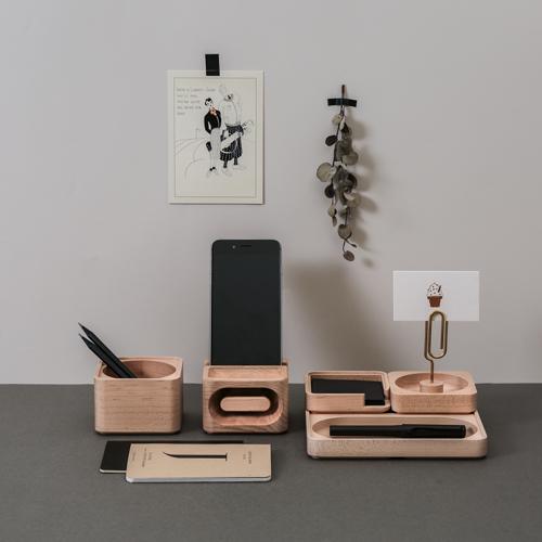 知音文創|實木堆疊文具收納  黃銅MEMO夾