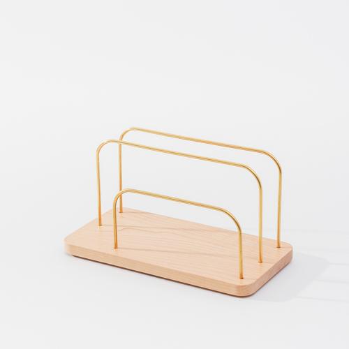 知音文創 實木堆疊文具收納  黃銅文件架S