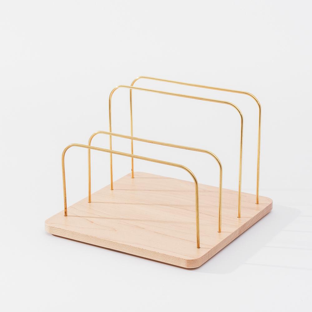 知音文創|實木堆疊文具收納  黃銅文件架M