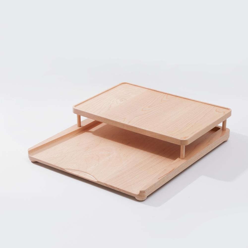知音文創|實木堆疊文具收納  A4雙層收納盤