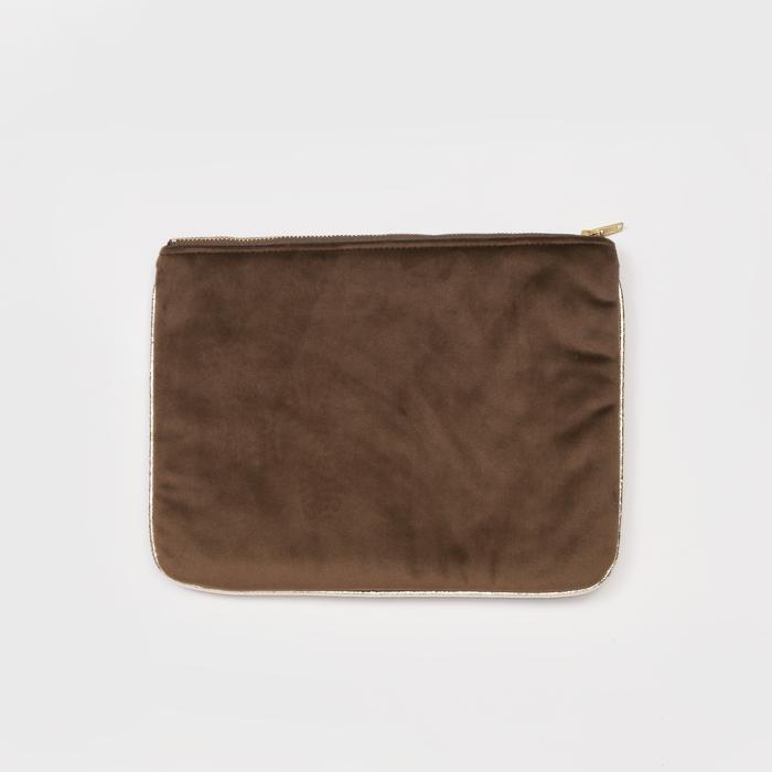 知音文創|化妝包 棕色短絨萬用袋