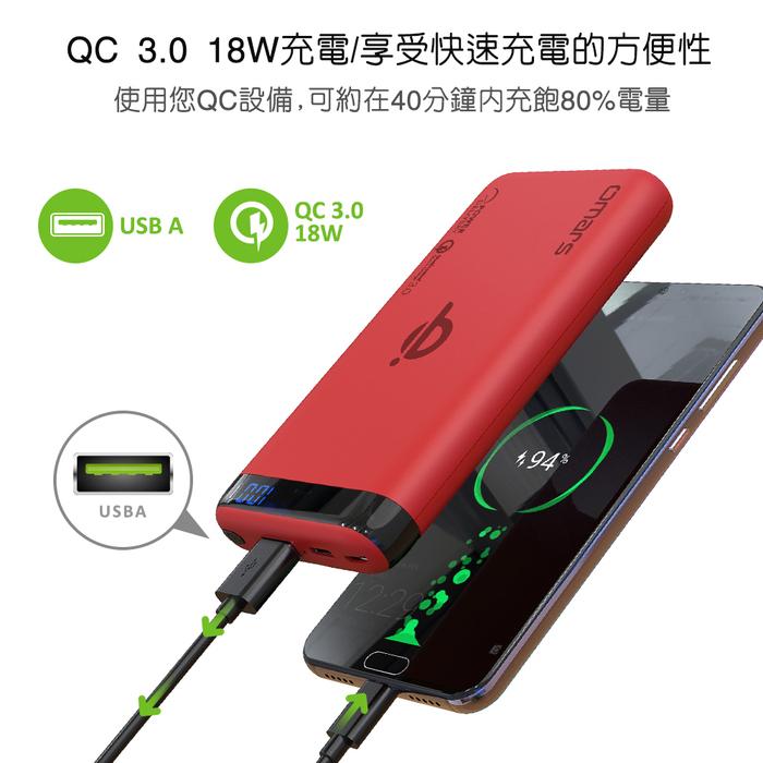 omars|無線Qi行動電源-PD+QC3.0快充 (亮眼紅)