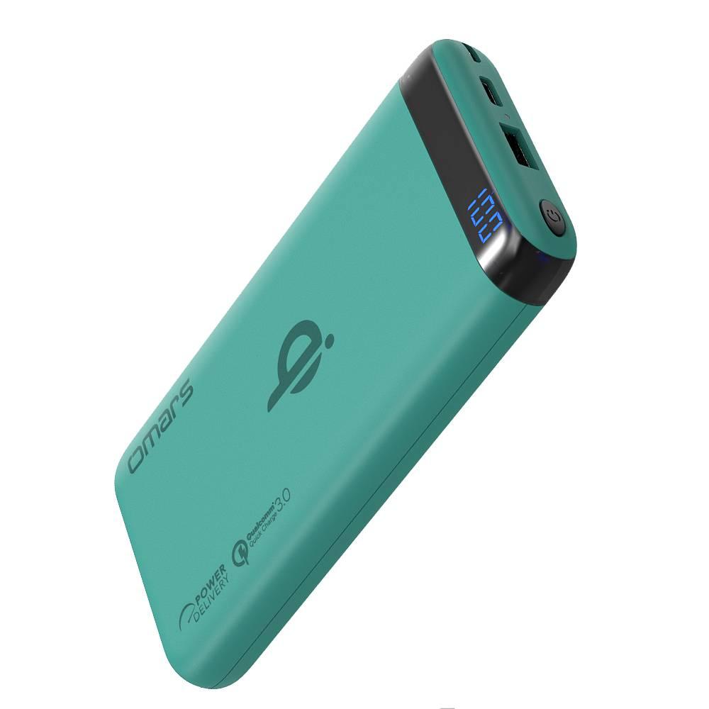omars|無線Qi行動電源-PD+QC3.0快充 (薄荷綠)