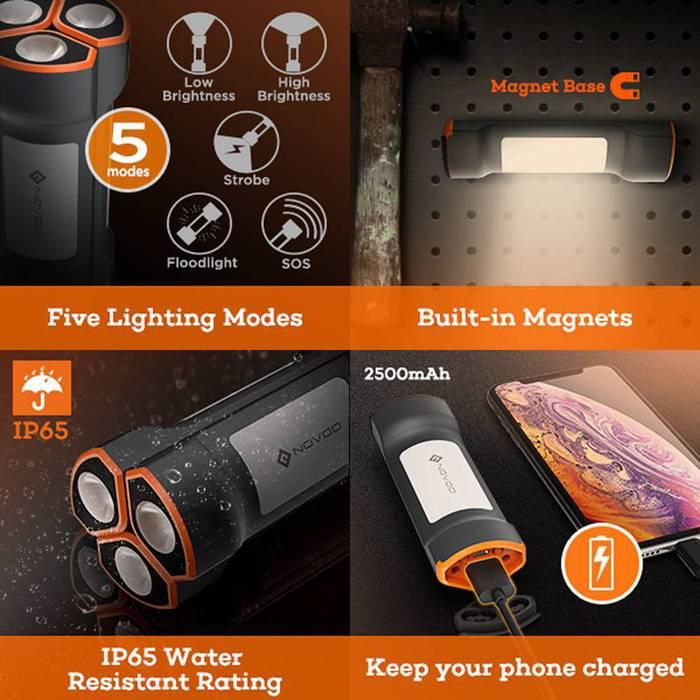 NOVOO|磁吸式LED照明行動電源-三入完整組