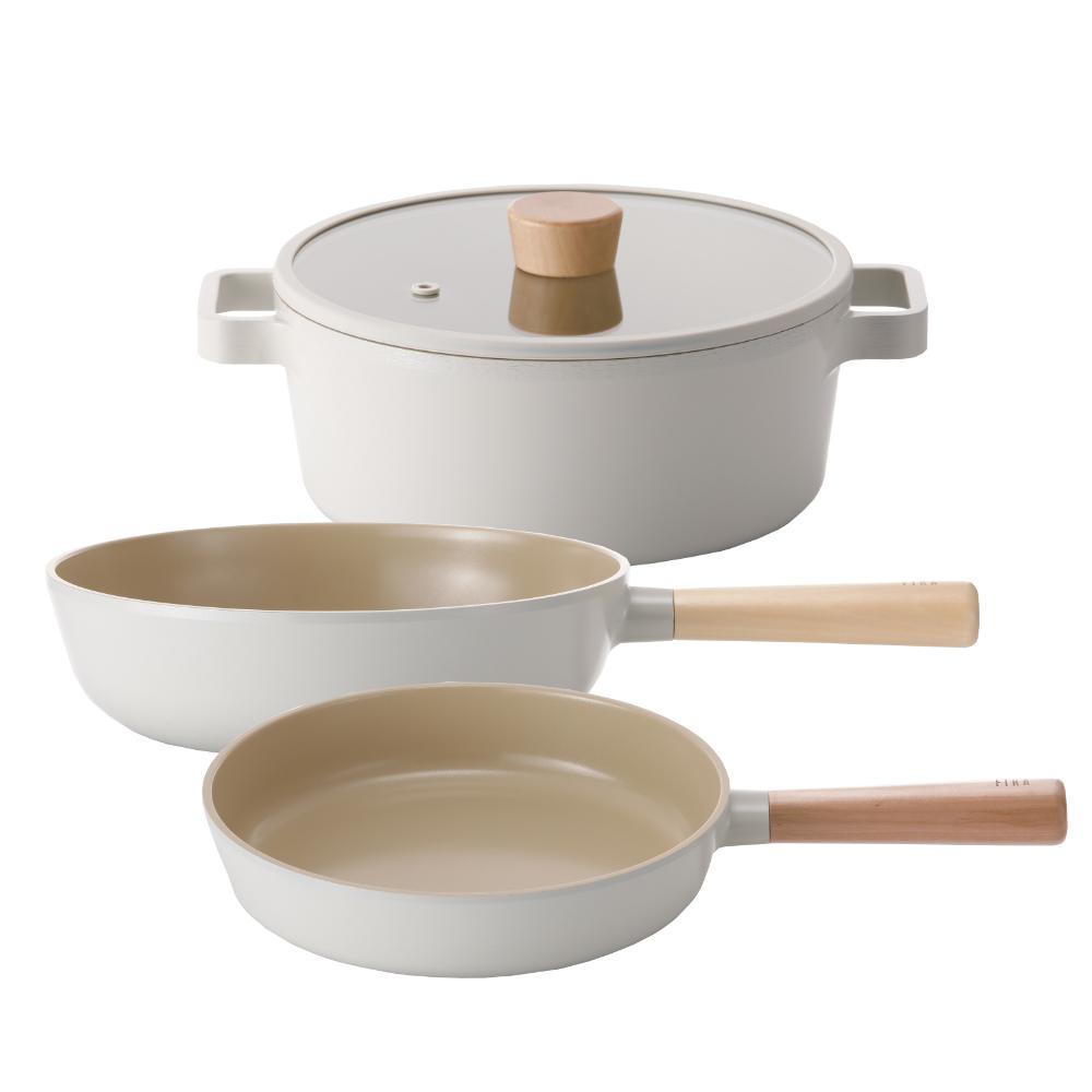 NEOFLAM FIKA系列 鑄造不沾三鍋組(雙耳湯鍋+炒鍋+平底鍋)