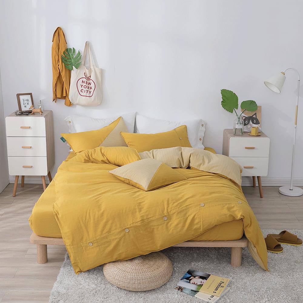 好關係 HAOKUANXI 沐浴朝陽- 天然色織棉床包被套枕套組-標準雙人