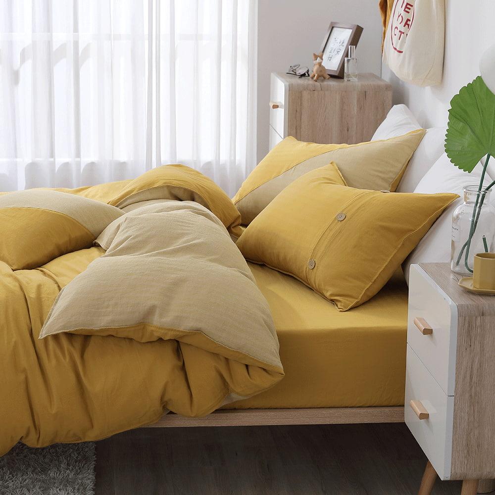 好關係 HAOKUANXI|沐浴朝陽- 天然色織棉床包被套枕套組-雙人加大